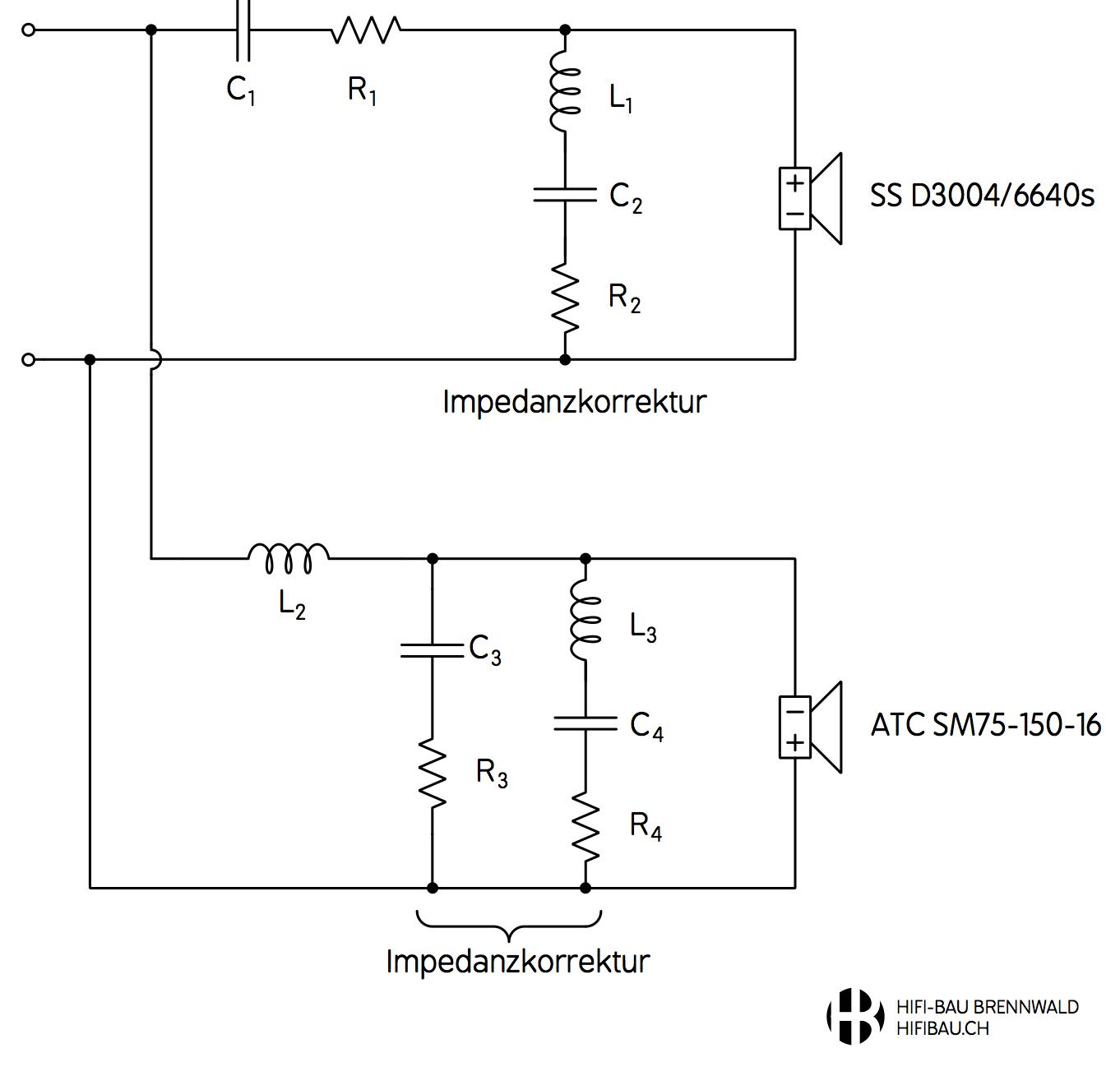 Schaltbild der Mittel- / Hochton-Frequenzweiche für die Aurichal